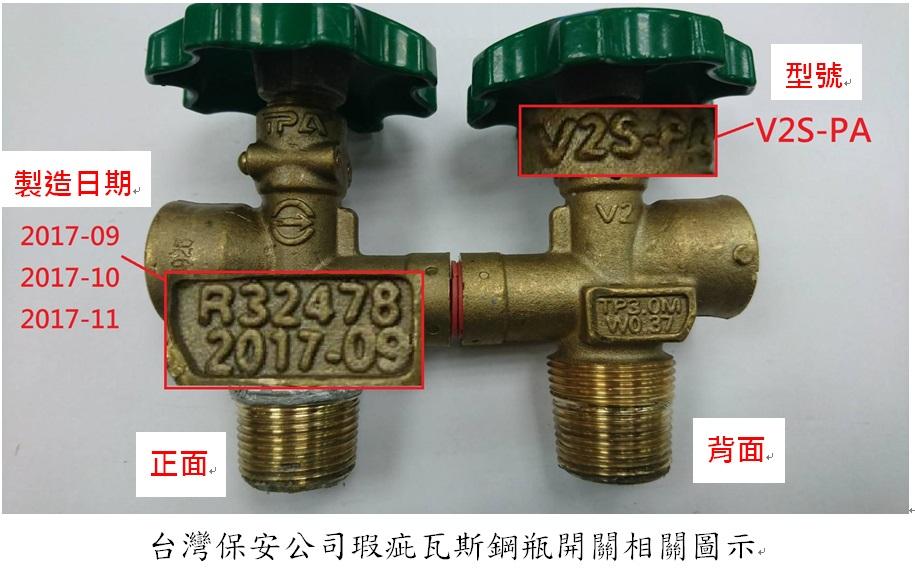 台灣保安公司瑕疵瓦斯鋼瓶開關